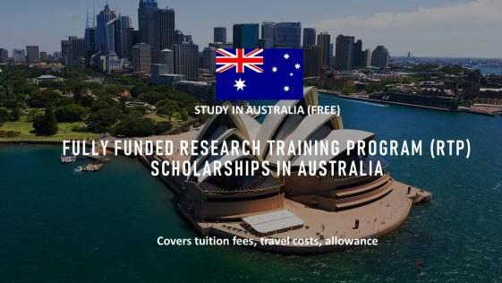 Fully Funded Australia Research Training Program (RTP) Scholarships