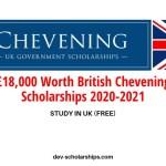 £18,000 Worth British Chevening Scholarships 2020-2021 | ONGOING