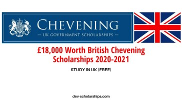 £18,000 Worth British Chevening Scholarships 2020-2021 | ONGOING