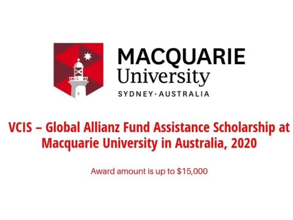 Global Allianz Fund Assistance Scholarship at Macquarie University in Australia, 2020