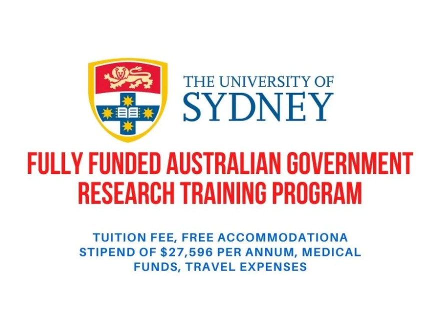 Fully Funded Australian Government Research Training Program at the University of Sydney