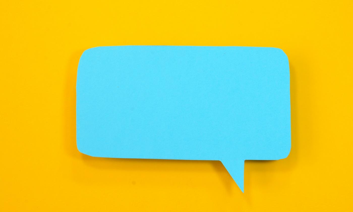 Speech bubble on yellow background