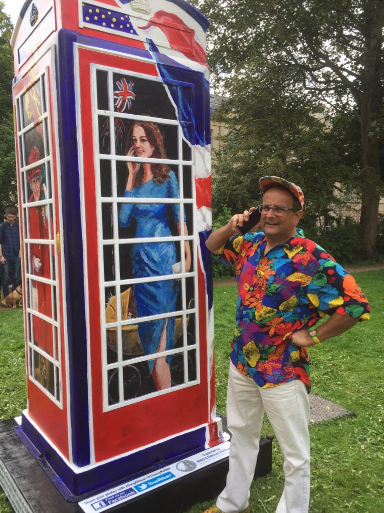 Timmy with the Ring A Royal phone box.