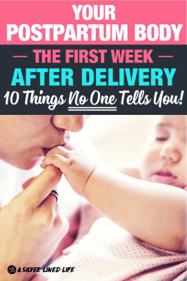 The whole postpartum recovery process can come as a shock to even the most prepared super moms. Here's what you can expect your body to go through that first week after labor and delivery that NO ONE TELLS you. #laboranddelivery #postpartum #firsttimemoms #capeandapron