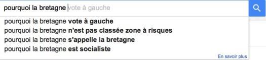 Pourquoi la Bretagne - résultats Google AutoComplete