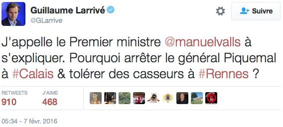 Tweet de Guillaume Larrivé
