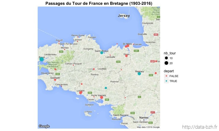 Passages du Tour de France en Bretagne (1903-2016)