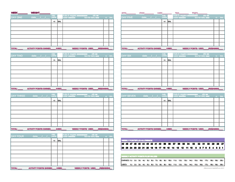 weight watchers tracking sheets