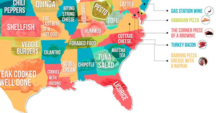 From Tapas To Turkey Bacon This Map Shows the Most Hated ...