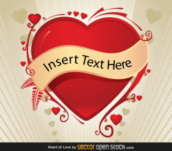 Vector Valentines Background with Red Heart Banner