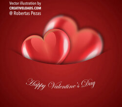 Valentine Day Background with Two Shinny Red Hearts.
