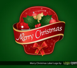 Merry Christmas Label Vector Free