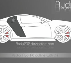 Audi R8 Vector Outline