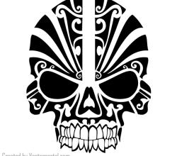 Vector Tribal Skull Tattoo Design