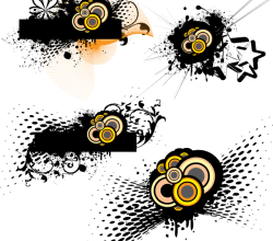 Grunge Vector with Circle and Halftone Elements