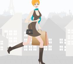 Vector Shopping Girl in Paris