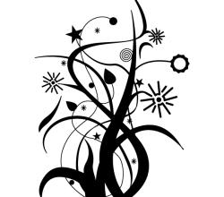 Swirl Floral Design Vector Free