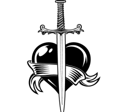 Heart with Sword Vector Clip Art