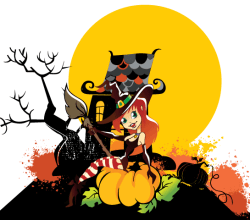 Happy Halloween Witch Girl with Pumpkin Vector Free