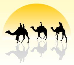 Vector Camel Caravan Silhouette in the Sunset Wallpaper