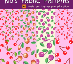 Vector Kid's Fabric Seamless Patterns – Fruits and Berries