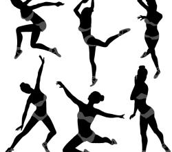 Vector Dancing Girl Silhouettes Illustrator