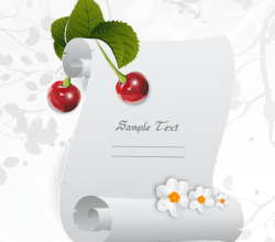 Christmas Greeting Parchment Scroll with Holly Berries Vector