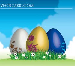 Vector Easter Eggs on Green Grass