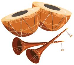 Free Tabla with Shehnai Vector Graphics