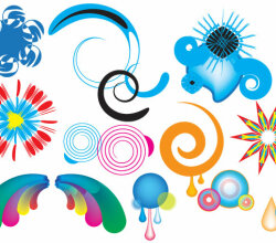 Vector Colorful Swirls and Shapes Designs