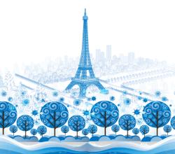 Vector Blue Paris Background Graphics