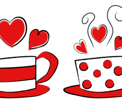 Vector Valentine's Day Coffee Cups