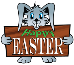 Easter Bunny Holding a Wooden Signboard with Happy Easter Text