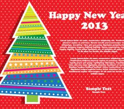 Happy New Year 2013 Christmas Tree Vector Illustration