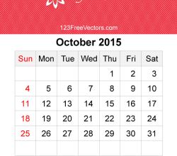 October 2015 Calendar Template Vector Free