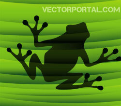Vector Frog Silhouette on Green Background
