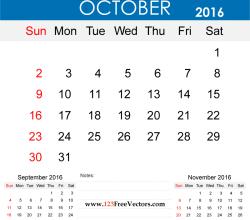 October 2016 Calendar Printable