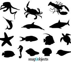 Sea Life Silhouettes Free Vector