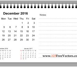 December 2016 Printable Calendar with Notes
