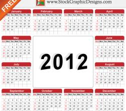 Free Vector Illustration of 2012 Calendar