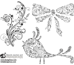 Floral Bird and Christmas Bow Vector