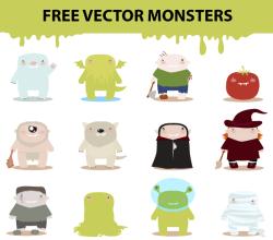 Free Vector Cartoon Monster Characters