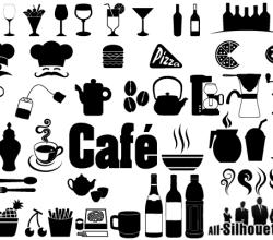 Cafe, Restaurant Icons & Symbols Vector