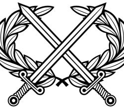 Vector Heraldic Cross Swords with Laurel Wreath