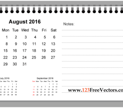 August 2016 Printable Calendar with Notes
