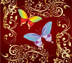 Butterfly And Flowers Free Vector