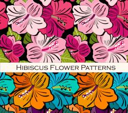 Hibiscus Flower Free Vector Pattern