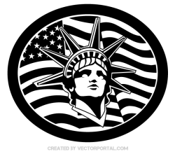 Statue of Liberty with American Flag Vector
