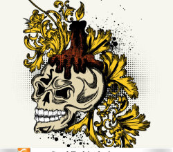 Free Vector Skull And Floral Tshirt Design
