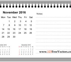 November 2016 Printable Calendar with Notes